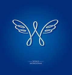 w letter monogram wings logo vector image