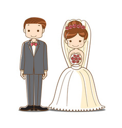 Wedding couple cartoon vector