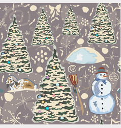 winter seamless pattern with bunnies spruce trees vector image vector image