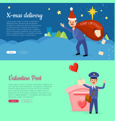 Xmas delivery and valentine post banner with vector