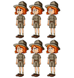 Zookeeper with different emotions vector