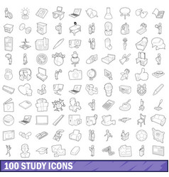100 study icons set outline style vector image