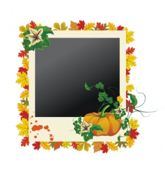 autumn grunge photo frame vector image