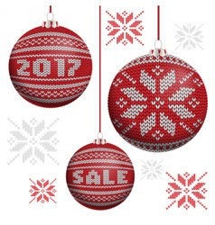 Red knitted christmas balls vector