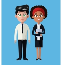 Cartoon man and woman working business team vector