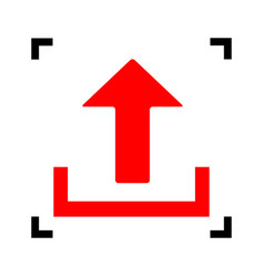 Upload sign   red icon inside vector