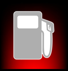 Gas pump sign postage stamp or old photo style on vector