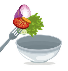 Salad vegetables nutrition with bowl and fork vector