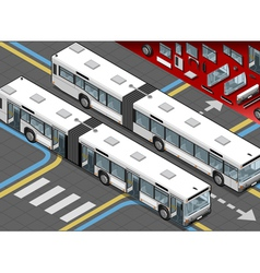 Isometric long bus in front view with open doors vector