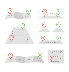 map markers and flat map icon set vector image