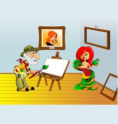 Painter and portrait vector