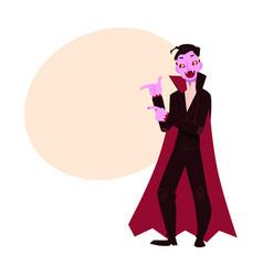 Young man dressed as dracula vampire halloween vector