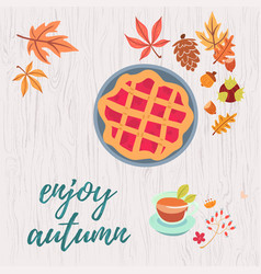 Enjoy autumn warm composition vector