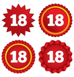 18 years old sign Adult label symbol vector image