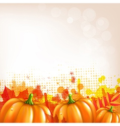 Orange autumn leafs and pumkins border vector