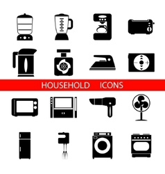 Household icons and symbols isolated silhouette vector