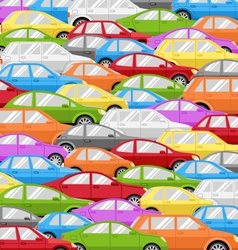 Traffic jam with cars road background vector