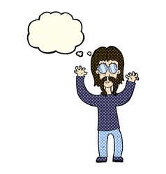 Cartoon hippie man waving arms with thought bubble vector