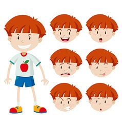 Cute boy with different facial expressions vector