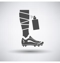 Soccer bandaged leg with aerosol anesthetic icon vector image