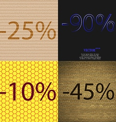 90 10 45 icon set of percent discount on abstract vector