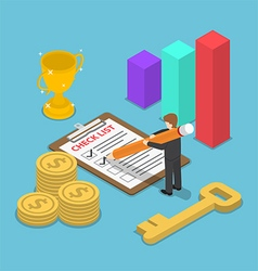 Isometric businessman checking mark on checklist vector