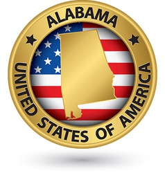 Alabama state gold label with state map vector image vector image