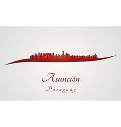 Asuncion skyline in red vector