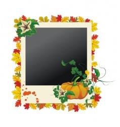 autumn grunge photo frame vector image