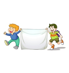 Boys holding cloth vector