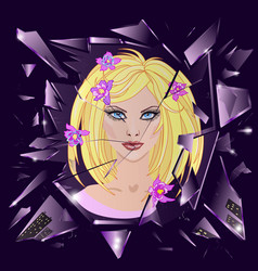 broken glass with reflection of cute girl vector image vector image