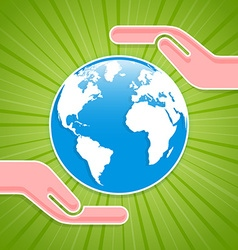 Caring hands with planet Earth vector image vector image