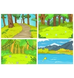 cartoon set of summer backgrounds vector image