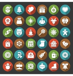 Christmas icons set christmas decorations objects vector