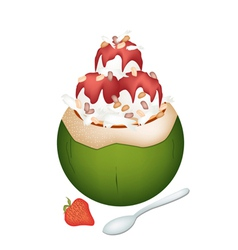 Coconut ice cream with nuts and strawberry vector