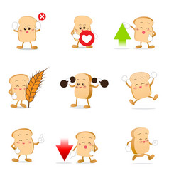 collection of bread cartoon eps 10 vector image