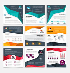 company flyer templates set vector image vector image