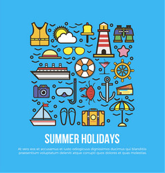 Cruise set of summer holidays elements in flat vector