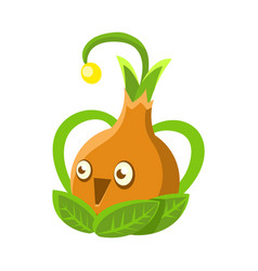 cute fantastic orange plant character shape of a vector image vector image