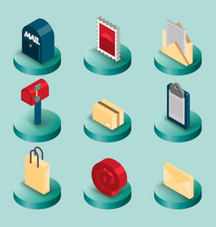 Delivery flat isometric set vector