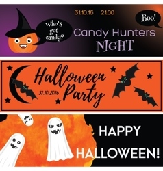 Halloween horizontal banners with holiday vector