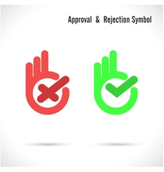 Hand and modern check mark icon vector