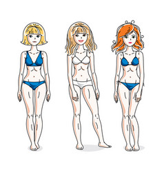 Happy cute young women standing wearing colorful vector
