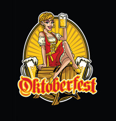 happy girl of oktoberfest presenting the beer vector image vector image