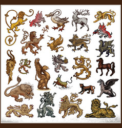 heraldic beast collection vector image
