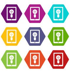 Idea lamp on gadget screen icon set color vector