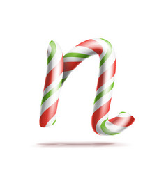 letter n 3d realistic candy cane alphabet vector image