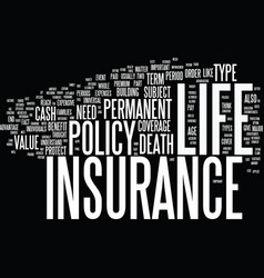 Life insurance explained text background word vector