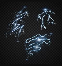 lightning bolt storm strike realistic 3d light vector image
