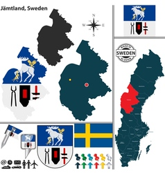 Map of Jamtland vector image vector image